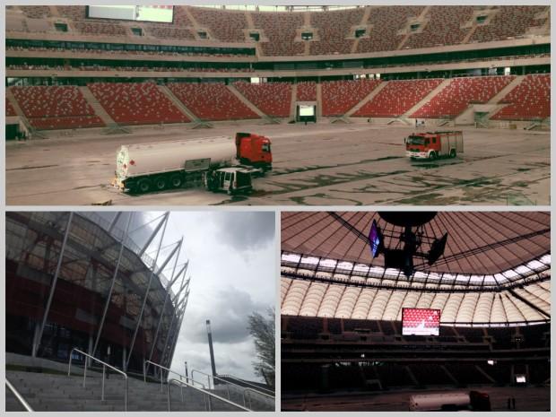 Stadion Narodowy wewnątrz - trwało sprzątanie po wydarzeniu Top Gear