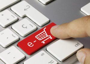 E-commerce keyboard key. Finger