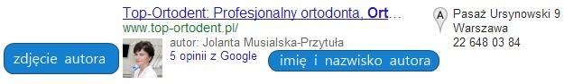 Autor w lokalnych wynikach wyszukiwania.