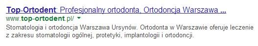 Niezoptymalizowany wynik wyszukiwania dla zapytania z nazwą firmy.