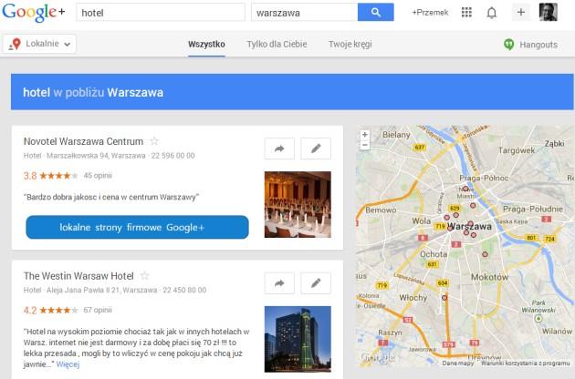 Wyniki wyszukiwania miejsc w Google+ Lokalnie.