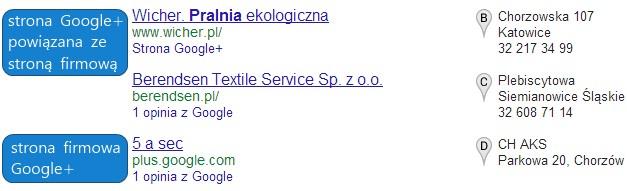 Strony firmowe Google+ w wynikach wyszukiwania.