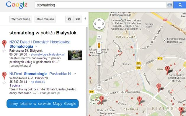 Wyniki wyszukiwania miejsc w Mapach Google.