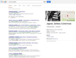 Wzbogacony wynik wyszukiwania dla zapytania brandowego (z nazwą firmy).