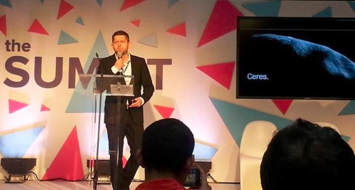Michał Sadowski podczas wystąpienia na Web Summit 2013 w Dublinie