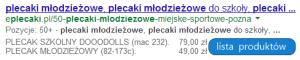Częściowa lista produktów w opisie wyniku wyszukiwania