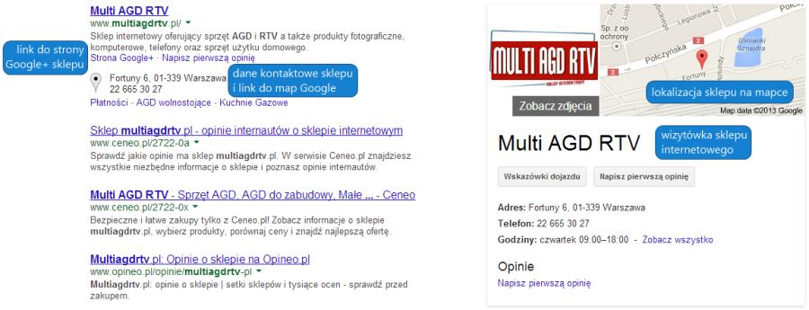 Lokalizacja sklepu wyświetlana w wynikach wyszukiwania