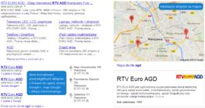 Lokalizacje sklepów wyświetlane w wynikach wyszukiwania