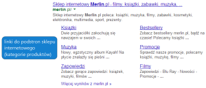 Rozbudowane linki do podstron witryny w wynikach wyszukiwania