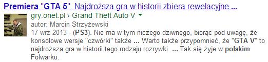 Autor artykułu w wynikach wyszukiwania