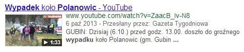 Film wideo z serwisu YouTube w wynikach wyszukiwania