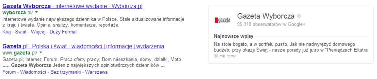 Wizytówka strony Google+ obok wyników wyszukiwania