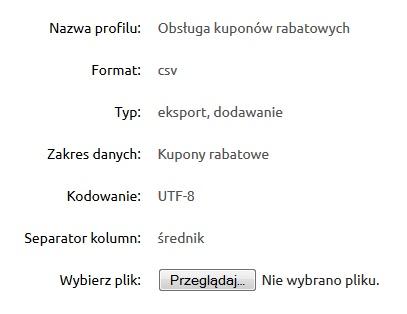 Import listy kodów rabatowych