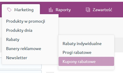 Zakładka Marketing w menu