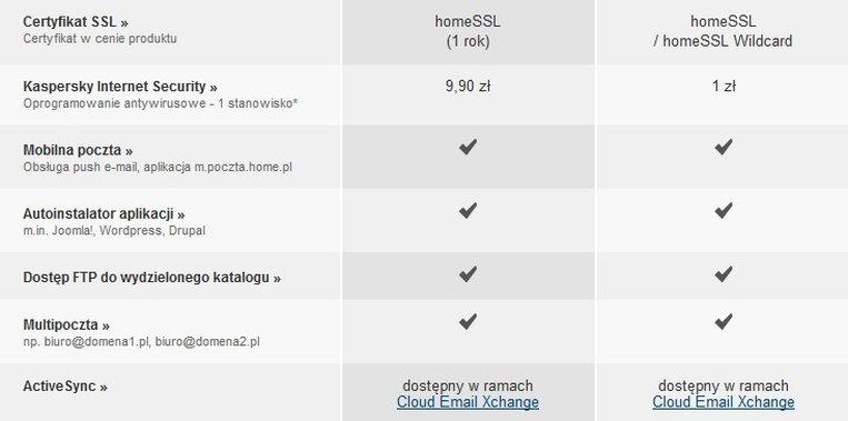 Bardzo pomocne na początku działalności są dodatki tj. certyfikat SSL, pakiet antywirusowy czy kupony na reklamę w Google.