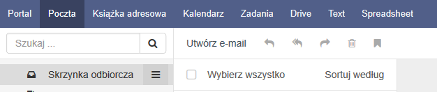 Opcje Text i Spreadsheet widoczne na głównej belce panelu pocztowego.