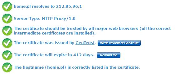 Przykład poprawnego działania certyfikatu z algorytmem SHA-2.