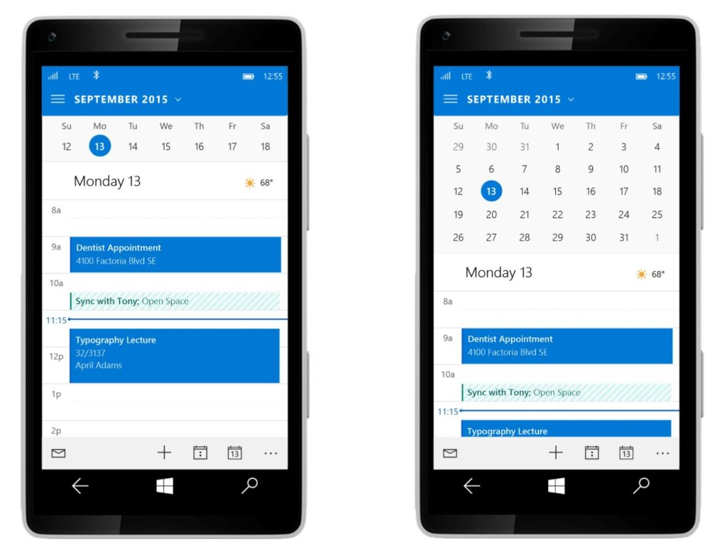 Odświeżona aplikacja pocztowa Outlook z kalendarzem - źródło: thewindowsbulletin.com