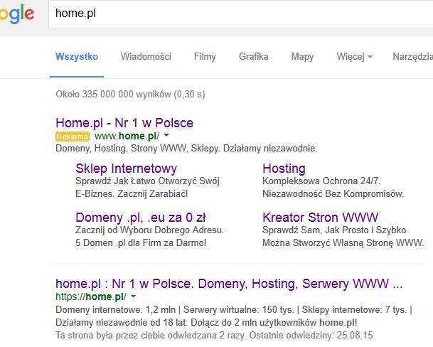 """Wyniki wyszukiwania po wpisaniu frazy """"home.pl"""" - domyślnie, jako pierwsza pojawiła się reklama Adwords."""