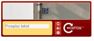 Przykład kodu captcha pod formularzem