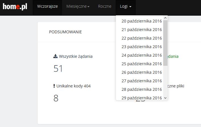 Dostęp do logów serwera z ostatnich 14 dni oraz zakresy czasowe statystyk w jednym miejscu