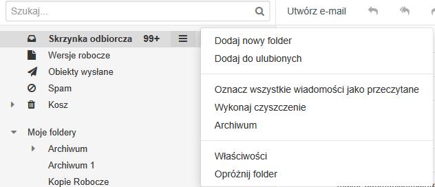 Opcja archiwizowania wiadomości w panelu poczty home.pl