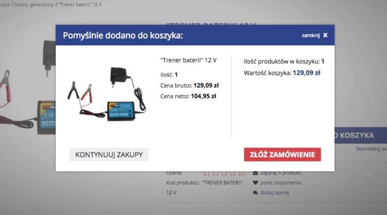 Dodawanie produktów do koszyka w nowym sklepie campandtrailer.pl