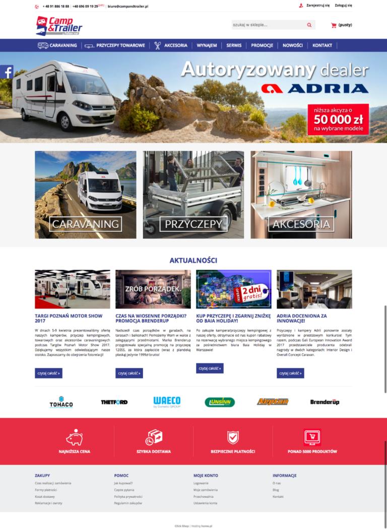 Strona główna nowego sklepu campandtrailer.pl