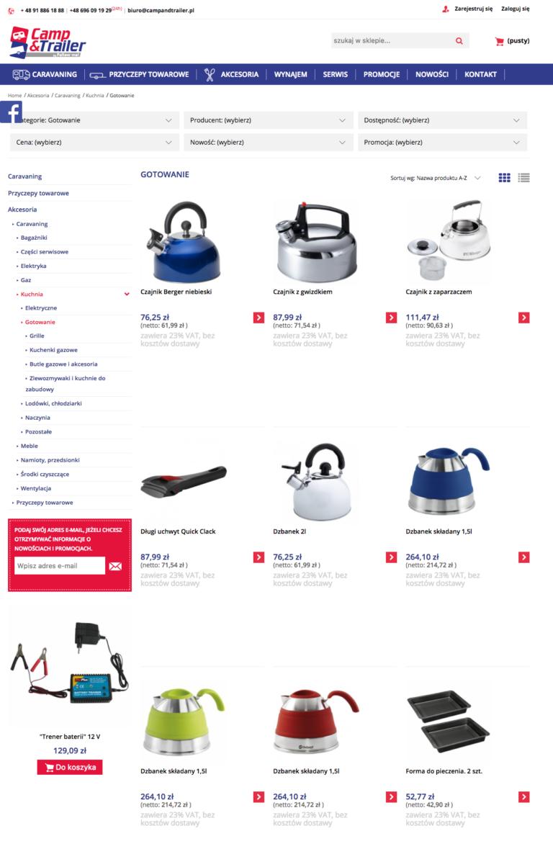 Kategorie produktowe w nowym sklepie campandtrailer.pl