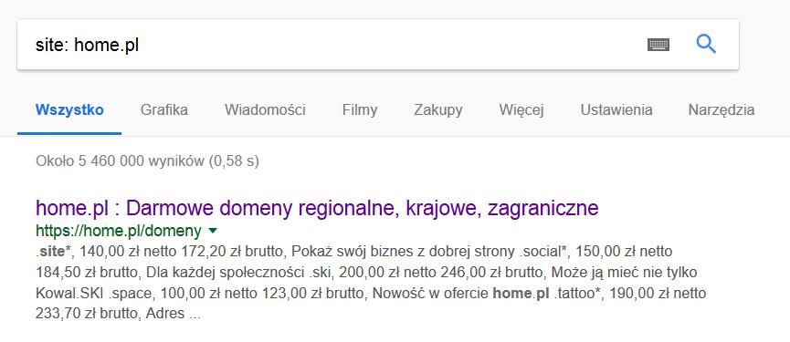 Ten eksperyment pokazuje, że home.pl z całą pewnością jest witryną zaindeksowaną przez Google.