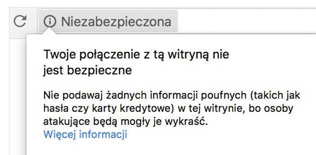 Komunikat o niezabezpieczonej witrynie w Google Chrome.
