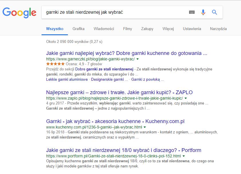 Naturalne wyniki z wyszukiwarki, które Google uznało za najtrafniejsze dla wprowadzonego zapytania.