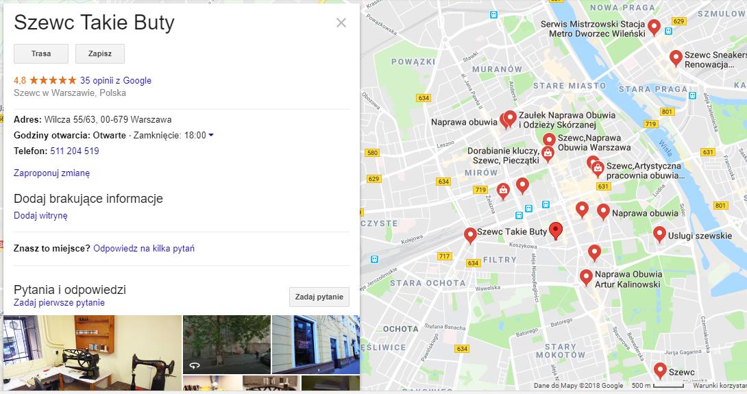 Wyniki z mapek Google. Po lewej szczegółowe informacje na temat firmy, które można uzupełnić samodzielnie, tworząc profil w Google Moja Firma.