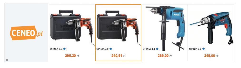Przykład reklamy remarketingowej – użytkownik przeglądarki oglądał oferty wiertarek w ceneo.pl, o czym. Dzięki usłudze remarketingu Ceneo przypomina, jakie modele zwróciły jego uwagę.