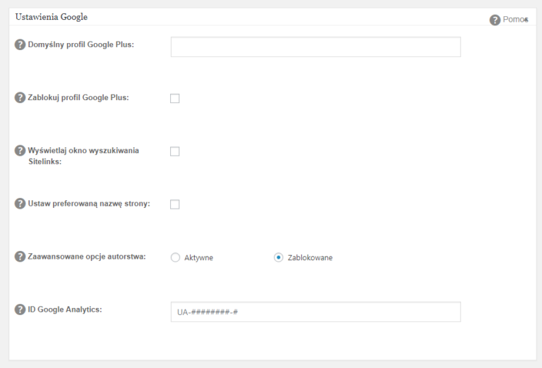 """Identyfikator śledzenia we wtyczce All in One SEO w witrynie na WordPressie wystarczy wkleić w module """"Ustawienia Google""""."""