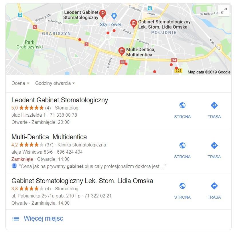 Pozycjonowanie strony www gabinetu dentystycznego - Google Maps