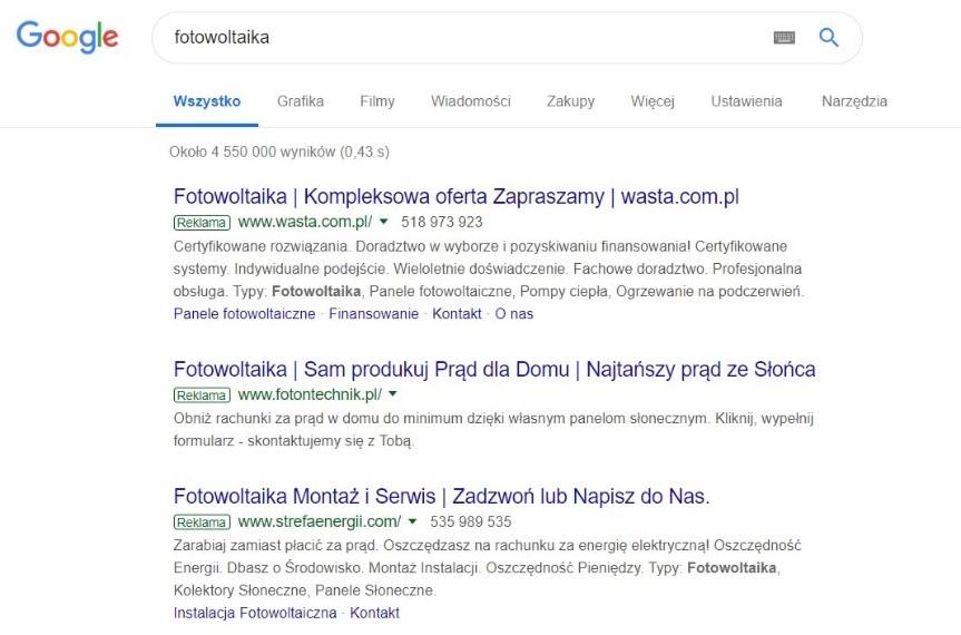 Reklama dla fotowoltaiki - Google Ads