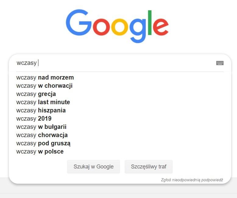 Wyszukiwanie tanich wakacji w Google - pozycjonowanie stron WWW