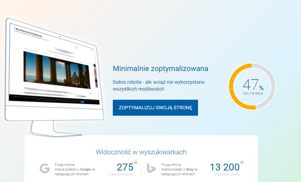 Optymalizacja strony WWW  - aplikacja rankingCoach