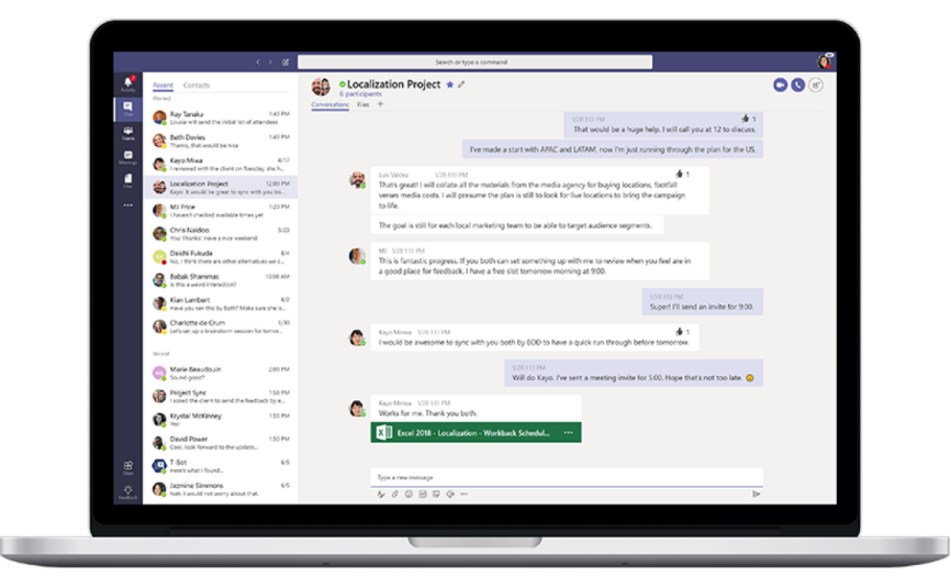 Microsoft Teams - historia chatu