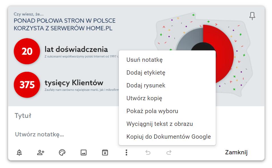 Odczytywanie tekstu z obrazka - Google Keeps