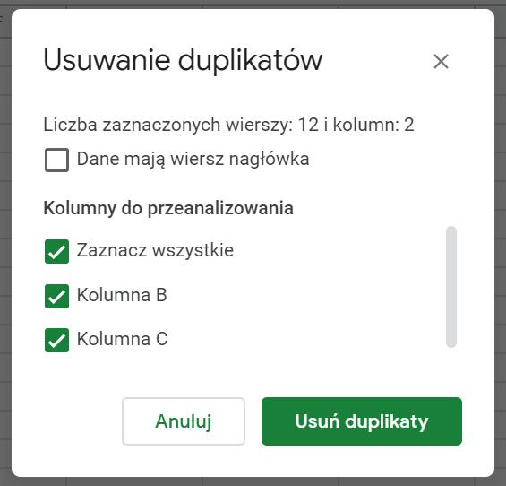 Usuwanie duplikatów z Google Sheets