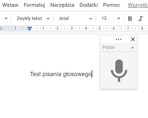 text to speech w G Suite - aktywacja mikrofonu
