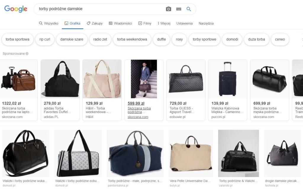 Wyszukiwarka Google i przykładowe grafiki z zakładki Google Grafika