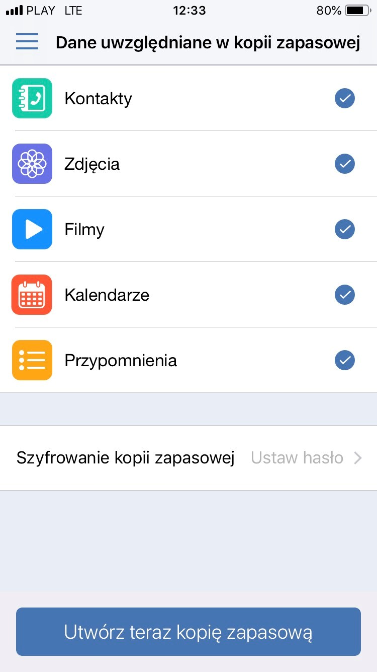Backup danych na iPhone za pomoca Acronis Mobile Backup