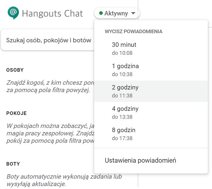 Wyłączanie powiadomień w Hangouts