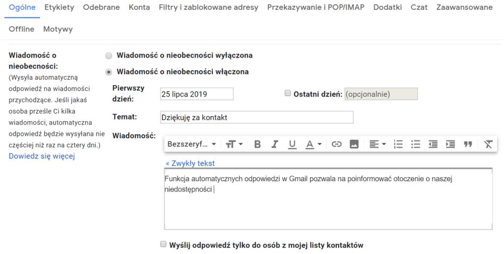 Autoresponder na poczcie Gmail (G Suite)