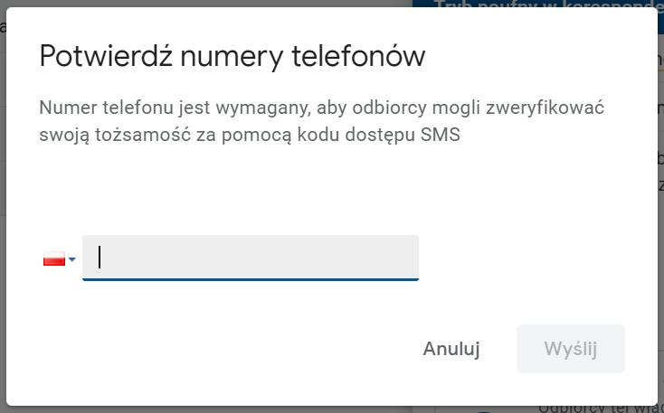 Autoryzacja kodem SMS w G Suite