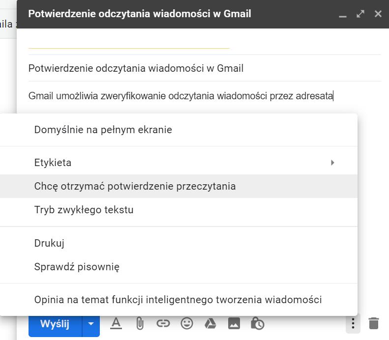 Potwierdzenie przeczytania wiadomości na Gmailu