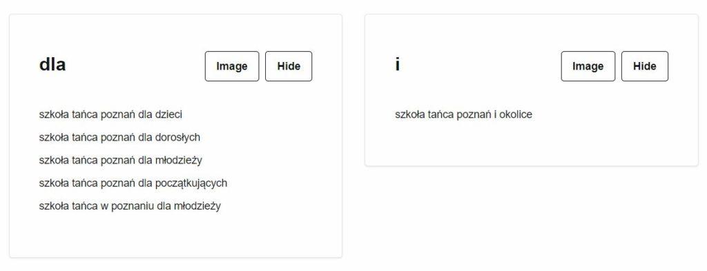 Przykładowe frazy kluczowe - pozycjonowanie Poznań